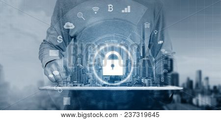 Cyber Internet Security System Technology. Businessman Using Digital Tablet And Security Lock Techno