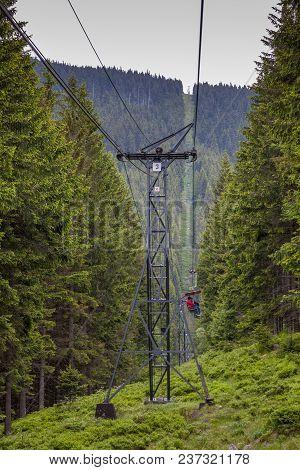 Cable Car Going Up Snezka Mountain In Krkonose, Czech Republic, Europe