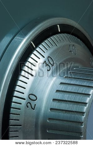 Closeup Detail Of A Safe Combination Lock