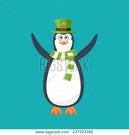 Funny Penguin, Antarctic Bird, In Beautiful Green Hat, Scarf, Smile. Holiday Saint Patrick. Traditio