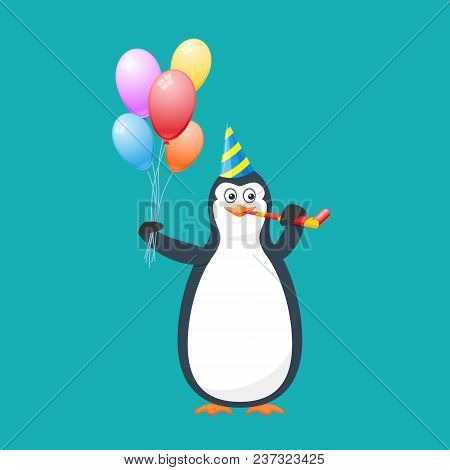 Funny Penguin, Antarctic Bird, In Holiday Hat, With Pipe And Air Baloons. Holiday March 8, Congratul