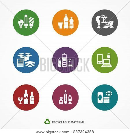 Garbage Waste Recycling Icons, Line Round Symbols Of Different Waste Sorting, Garbage Recycling. Vec