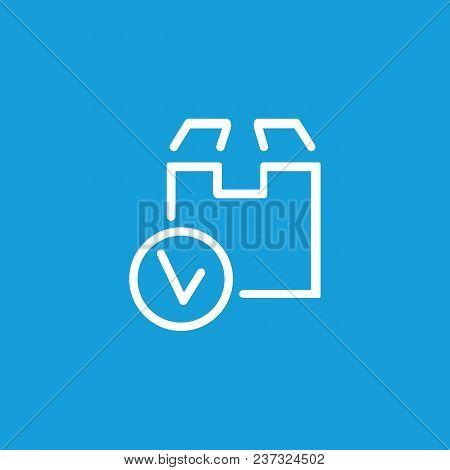 Line Icon Of Cardboard Box With Tick Sign. Parcel, Cargo, Freight. Delivery Concept. Can Be Used For