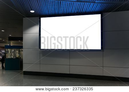 Procurement For The Design To Insert The Advertising In The Screen. Large White Blank Billboard. Adv