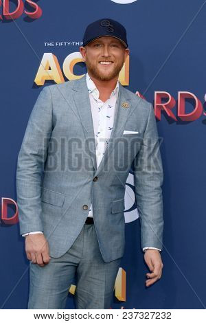 LAS VEGAS - APR 15:  Cole Swindell at the Academy of Country Music Awards 2018 at MGM Grand Garden Arena on April 15, 2018 in Las Vegas, NV