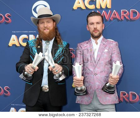LAS VEGAS - APR 15:  Brothers Osborne at the Academy of Country Music Awards 2018 at MGM Grand Garden Arena on April 15, 2018 in Las Vegas, NV
