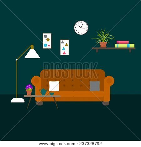 Living Room With Sofa. Vector Interior Illustration