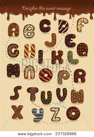 Artistic Alphabet With Encrypted Romantic Text I Want You. Brown Letters As Chocolate Donuts. Deciph