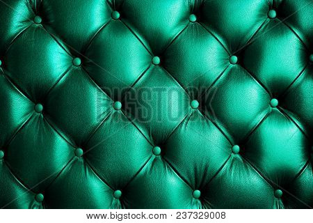 Saturated Glossy Turquorise Leather Texture Of Sofa Chair