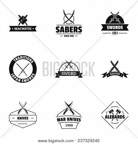 Weapon Logo Set. Simple Set Of 9 Weapon Vector Logo For Web Isolated On White Background