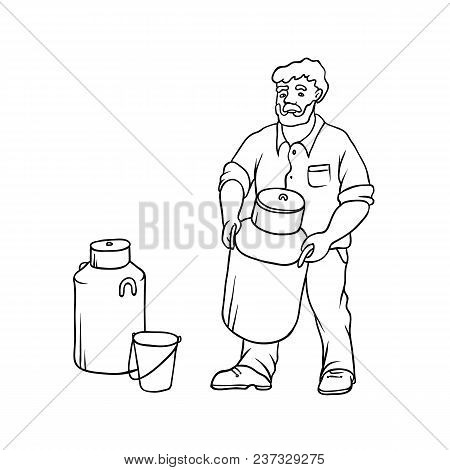 Vector Sketch Farmer Bearded Village Man In Working Clothes On Ranch With Large Can Of Milk In His H