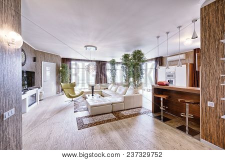 Russia, Moscow Region - Living Room Interior In Modern House.