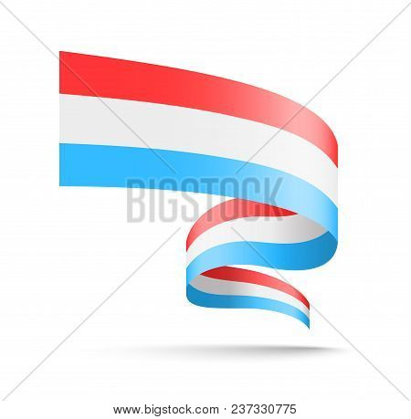 Luxembourg Flag In The Form Of Wave Ribbon. Vector Illustration On White Background.