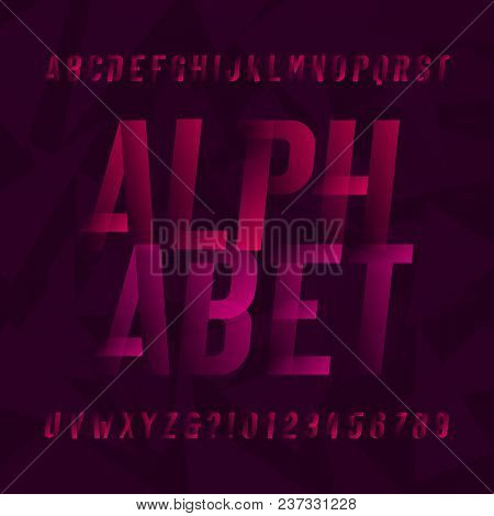 Abstract Modern Alphabet Typeface. Oblique Type Letters And Numbers On Abstract Background. Vector F