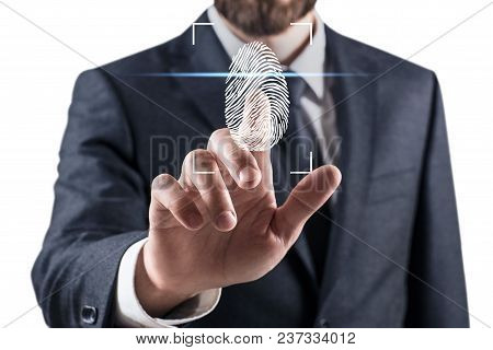 Woman Pressing On Virtual Button With Dactyloscopy Scanner. Fingerprints Identification Concept.
