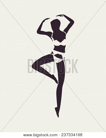 Beautiful Sexy Fitness Girl. Pretty Woman Wearing Lingerie. Front View. Dancing Pose