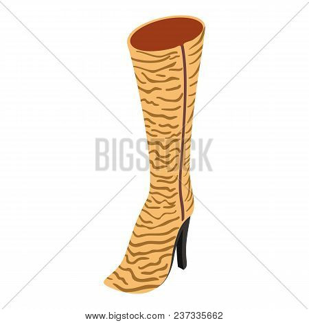 Heeled Boot Icon. Isometric Illustration Of Heeled Boot Vector Icon For Web