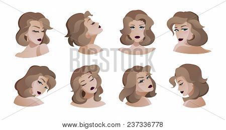 Collection Of Beautiful Young Women. Modern Flat Cartoon Style. Front View, Side View, Back View. El