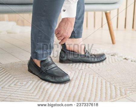 Businessman Clothes Shoes, Man Getting Ready For Work, Groom Morning Before Wedding Ceremony