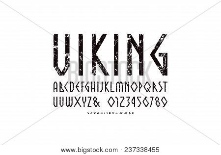 Decorative Geometric Narrow Sans Serif Font. Letters And Numbers With Rough Texture For Logo And Emb