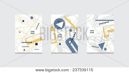 Stock Vector Set Of Abstract Brochure Template Covers In Suprematism Style