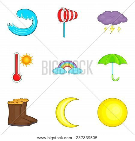 Moderate Climate Icons Set. Cartoon Set Of 9 Moderate Climate Vector Icons For Web Isolated On White