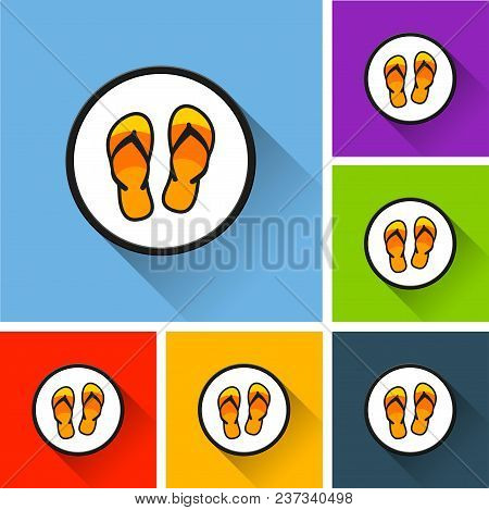 Illustration Of Flip Flop Icons With Long Shadow
