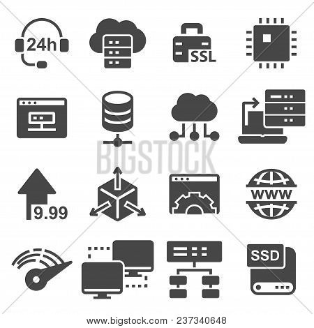 Network, Hosting And Servers Vector Icons Set