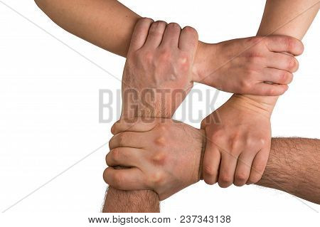 Four Human Arms Crossed And Holding Together - Teamwork Concept