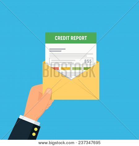 Credit Report Document Mailing Concept. Close-up Of Person Hand Holding Mail Envelope With Personal