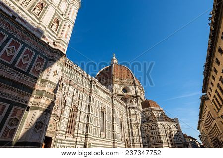 The Cathedral Of Santa Maria Del Fiore (1296-1436) And Bell Tower Giotto (84,70 M.) In Florence (fir