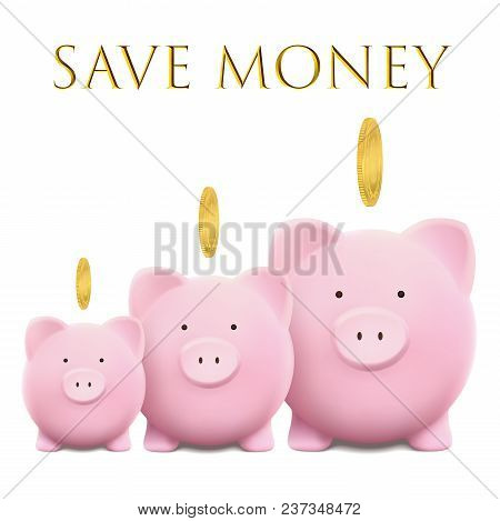 Piggy Bank Vector Illustration With Gold Coin. Saving Bank Account Concept On White Isolated Backgro