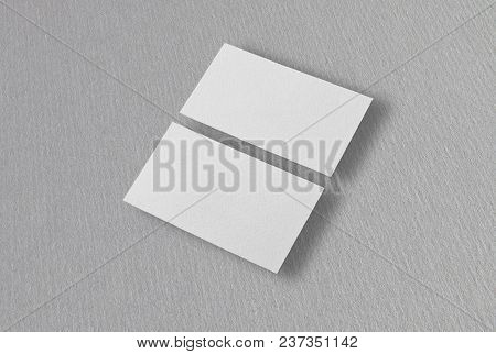 Mockup Of Two Horizontal Business Cards At Gray Background