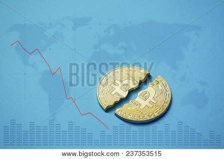 Coin Bitcoin Is Broken In Half On A Blue Background And Elements Of Burbot Charts Are Added. The Con