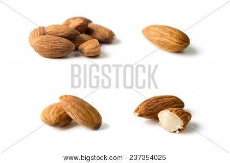 Nuts, Almond, Tasty And Healthy Food With Lots Of Vitamins. Almond Nuts. Almonds In Groups And Separ