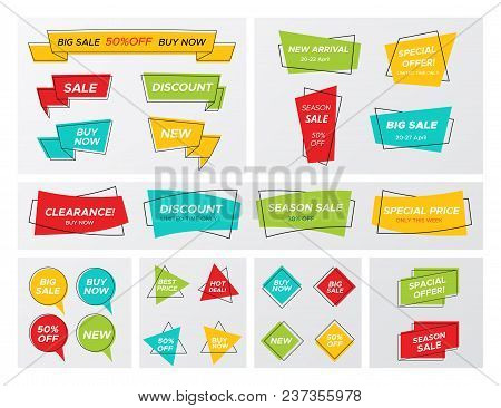 Set Of Flat Geometric Sale Banner In Trendy Concept. New Hipster Graphic Different Shape Promo Stick