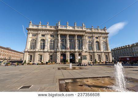 Turin, Italy - April 2, 2015: The Palazzo Madama (madama Palace) 1718 - 1721 In Piazza Castello (cas
