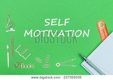 Concept School, Text Self Motivation, School Supplies Wooden Miniatures, Notebook With Ruler And Pen
