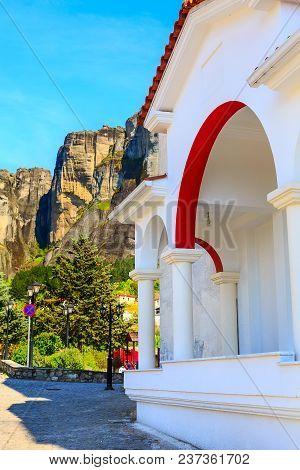 White Building Of The Church At The Center Of Kastraki Village Near Meteora Cliff Mountains