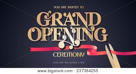 Red Ribbon And Scissors Design Element For Invitation Card To Grand Opening Ceremony. Store Opening