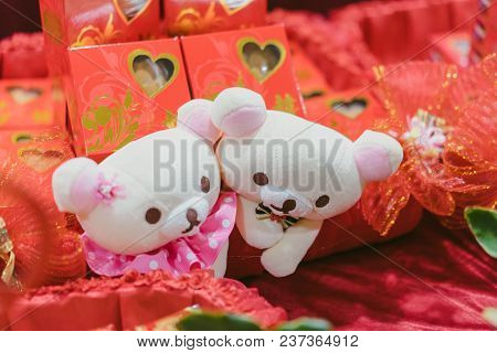 Hantaran, Seseraha, Gift Proposal Package Decorated With Couple Doll Boy And Girl Love, Shuang Xi, X