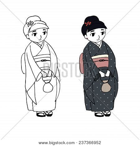 Hand Drawn Vector Illustration Of A Cute Curvy Girl Dressed In Japanese Kimono With Polka Dots, Hold