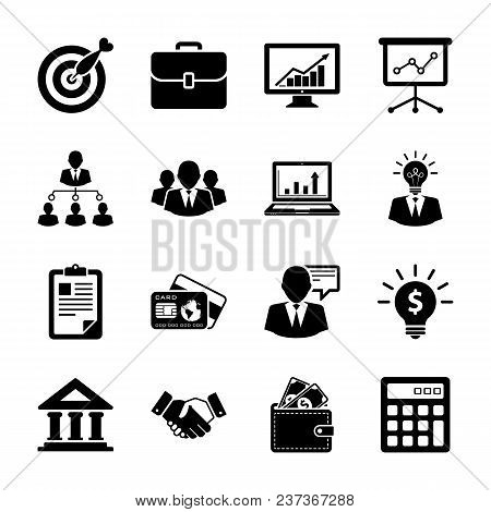 Vector Collection Of Simplistic Black Business And Finance Glyph Icons.