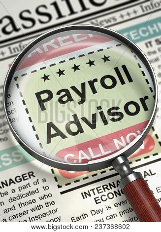 Column In The Newspaper With The Small Advertising Of Payroll Advisor. Payroll Advisor - Jobs In New