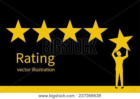 Star Rating Silhouette. Man Holding Gold Star In Hand, To Give Five. Feedback Concept. Evaluation Sy