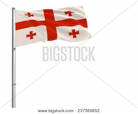 Isolate Flag Of Georgia On A Flagpole Fluttering In The Wind On A White Background, 3d Rendering