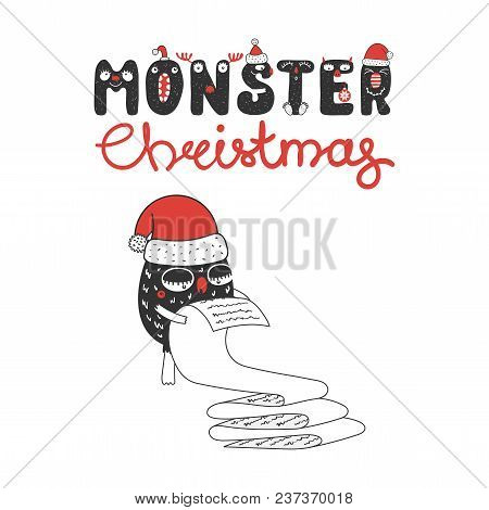 Hand Drawn Christmas Greeting Card With A Cute Funny Monster In Santa Claus Hat, Reading A Long List