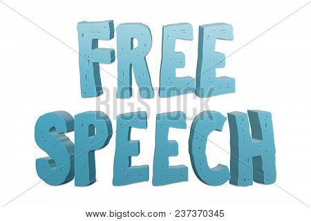 Free Speech Text For Title Or Headline In 3d Style With Small Cuts On The Letters