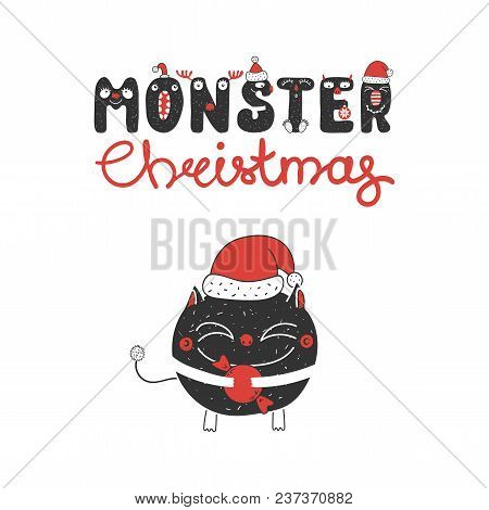 Hand Drawn Christmas Greeting Card With A Cute Funny Little Monster In Santa Claus Hat, Holding Cand