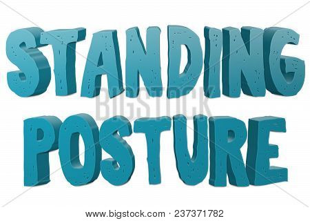 Standing Posture Text For Title Or Headline In 3d Style With Small Cuts On The Letters